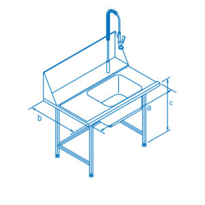 1100mm Left Hand Entry Table with Sink for Classeq Warewashers