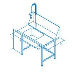 1100mm Right Hand Entry Table with Sink for Classeq Warewashers
