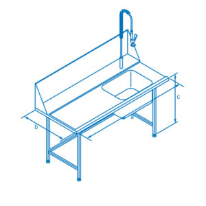 1500mm Left Hand Entry Table with Sink for Classeq Warewashers