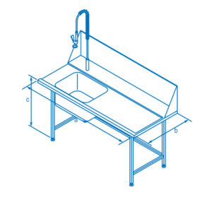 1500mm Right Hand Entry Table with Sink for Classeq Warewashers